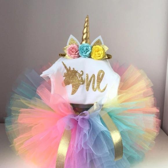 1302f2b951a0 Dresses | Boutique Baby Girl 1st Birthday Unicorn Tutu 3pc | Poshmark
